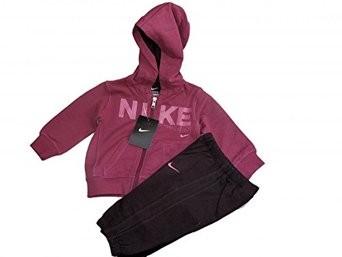 Nike Infants baby little girls fleece dark pink purple warm hooded full tracksuit (6-9 months)