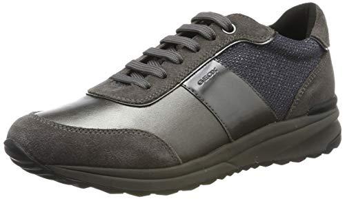 Geox Damen D AIRELL A Sneaker, Grau (Dk Grey/Gun C9f1g), 40 EU