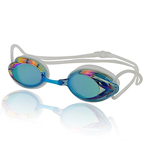 »Harpoon« Schwimmbrille / 100% UV-Schutz + Antibeschlag / Starkes Silikonband + stabile Box / AF-2000m / blau