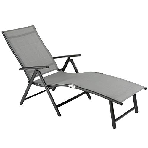 OUMAN Tumbona, Silla de jardín Ajustable, Tumbona Plegable de Aluminio, Ligera, Estable para terraza, balcón, Camping, Festival, Gris