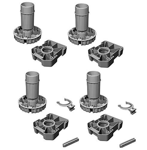 Gedotec Möbelfüße Küchen-Unterschrank Sockelfüße höhen-verstellbar Kunststoff schwarz   Stellfuß mit Höhe 120 mm   KOMPLETT SET   Verstellfüße 500 kg Tragkraft   4er Set - Schrank-Füße für Möbel
