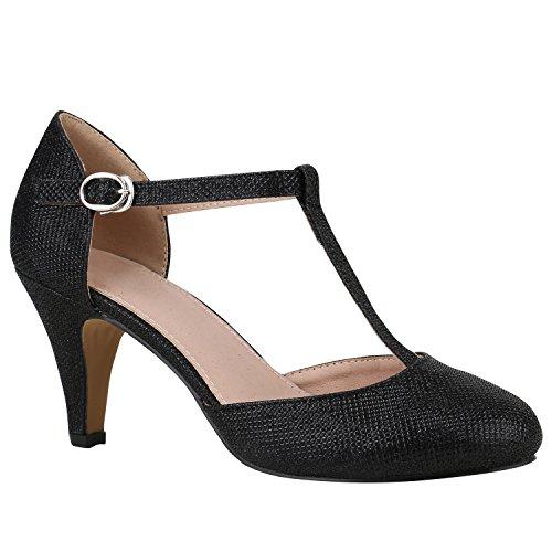 Damen Schuhe Pumps Mary Janes Blockabsatz High Heels T-Strap 156187 Schwarz T-Strap 40 Flandell -