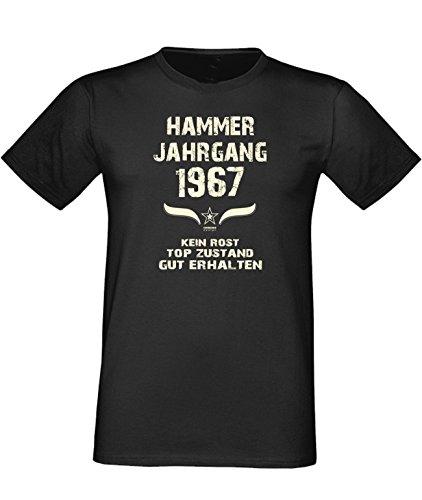 Humorvolles Happy-Birthday Fun-t-shirt Geschenk für den liebsten Menschen mit Sprüche-Motiv: zum 49. Geburtstag Hammer Jahrgang 1967 Farbe: schwarz Schwarz
