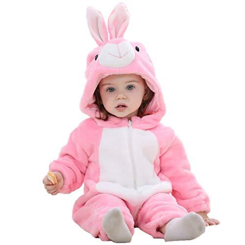 Baby Hasenkostüm Kostüm Overall Häschen Babykostüm Plüsch Strampler Hasen Tierkostüm Fasching Karnevalskostüm Faschingskostüm Tier Mottoparty Verkleidung Karneval Kostüme für Kinder