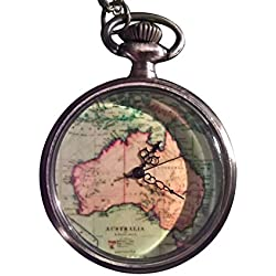 Australia Map Pendant Pocket Watch
