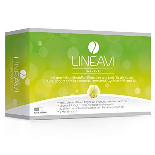 LINEAVI Haarkraft, mit Hirseextrakt, Vitamin B5, Cystin, zur Erhaltung normaler Haare und für den normalen Stoffwechsel von Steroidhormonen, in Deutschland hergestellt, 120 Kapseln (2-Monatsvorrat)