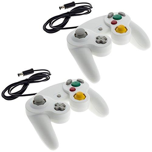 2x Smartfox Classic Controller Gamepad Joypad Joystick für Nintendo GameCube und Nintendo Wii (1. Generation RVL-001) mit Vibrationseffekt in weiß