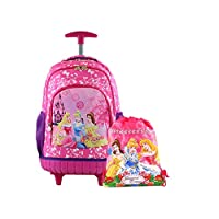 Kids'School trolley Rolling Latop with one Drawstring Backpacks Princess 17inch 3-12years old