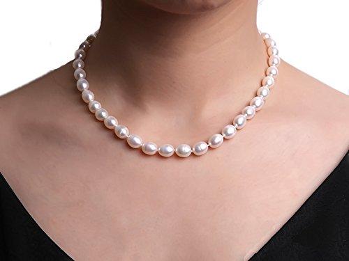 Collana di perle d' acqua dolce 7-8mm bianco rice-shaped e bracciale Set - Chewy Dolce