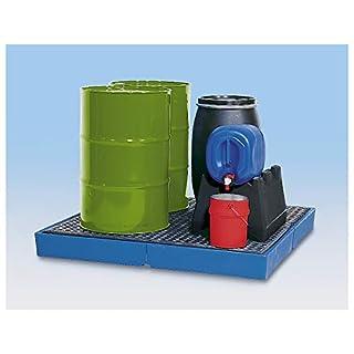 Asecos Kunststoff-Flachwanne - mit PE-Gitterrost, Auffangvolumen 400 Liter - Flachwannen PE-Auffangwannen Palettenauffangwannen Lager- und Abfüllstationen Wannen Auffangwannen