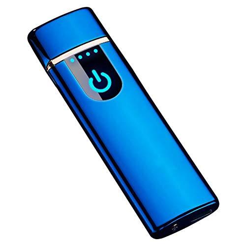 THE NAMCHE BAZAR Encendedor USB eléctrico Recargable, Mechero sin Llama ecológico sin Gas Caja de Regalo mechero Copa Viento Muy Elegante Ultra Fino (Azul)