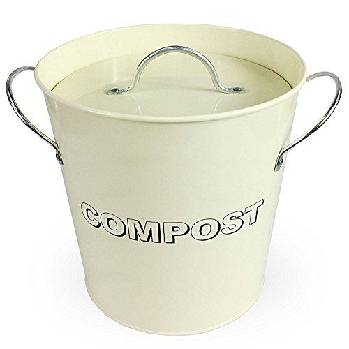 Simpa® - Bidoncino da tavola per compostaggio, in stile vintage, in metallo, color crema, per cucina - pattumiera per compostaggio, recupero di rifiuti organici, con compostiera rimovibile