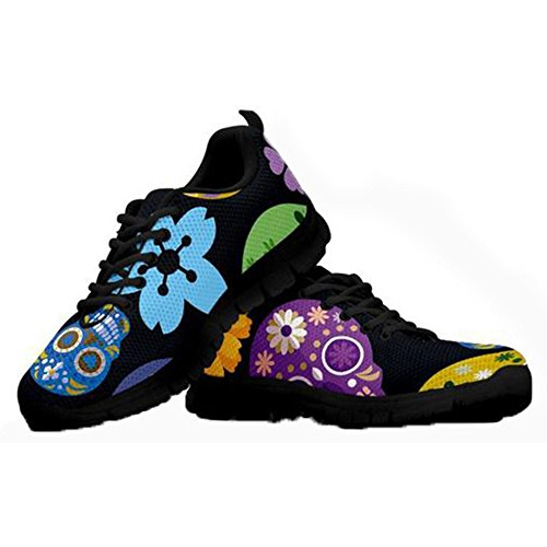 HUGS IDEA Herrenmode Tennis Sneakers Mexico Sugar Floral Skull Print Punk Rock Sportlich Laufschuhe - EU 40 -