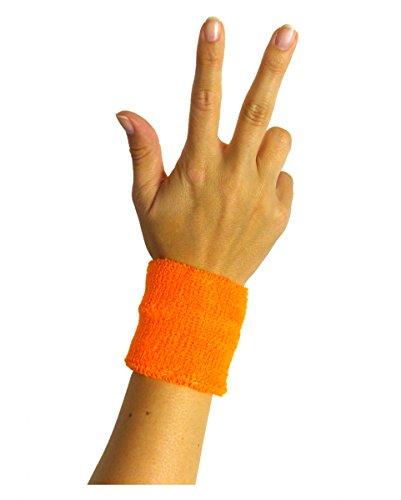 Horror-Shop Neonoranges 80er Jahre Schweiß-Armband für Neon Party -