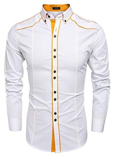 CRAVOG Mode Chemise Homme Mince Contrast Manches Longues / Shirts Cintrée Boutonné Patchwork Décontracté Blanc