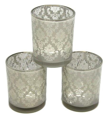 Bada Bing 3er Set Teelichthalter weiß Silber mit Ornamenten Vintage klein 28566