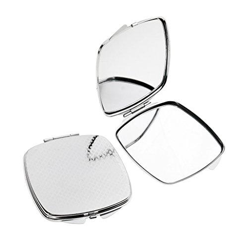 Homyl 2pcs Mini Miroir de Poche à Double Face pour Maquillage - Cadeau Femme Fille - Rond