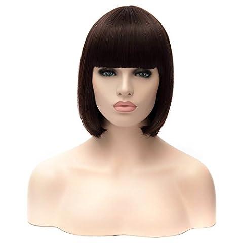 Perruque de Femme Courtes Synthétique Wig, perruque droite ,Noir,Cosplay