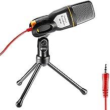 Neewer Profesional micrófono condensador sonido Podcast Studio con Cable de Audio de 3,5 mm y Mini trípode soporte para PC Laptop computadora Apple Mac versión actualiza, negro