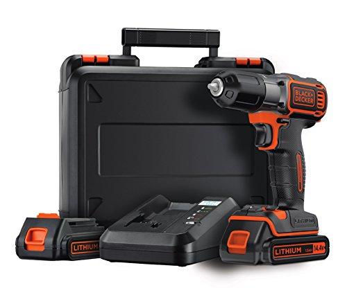 Black+Decker Akku-Schlagbohrmaschine, Autosense Bohrschrauber (14.4V, 1.5A, Schraub- und Bohrmodus, 10 mm Schnellspannbohrfutter, Kompaktdesign, inklusive Akkus, Schnelladegerät und Koffer) ASD14KB