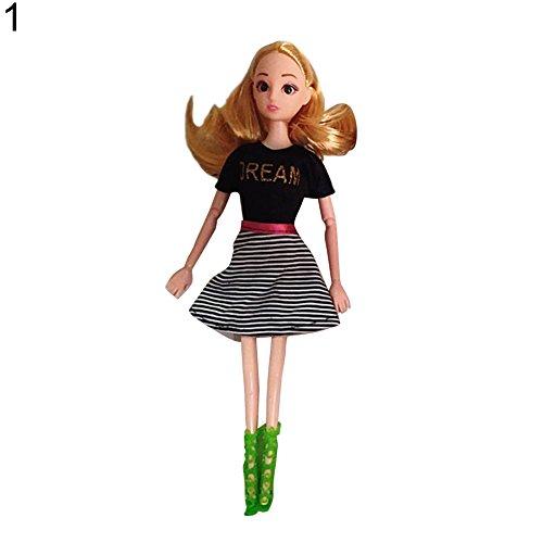 Kleid Rock gestreift Love Heart Decor Party Kleidung Geschenk für Barbie - 1# 1# ()