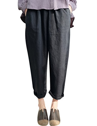 Youlee Donna Elastico in vita Casuale Harem Pantaloni Nero