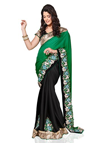 Chirag Sarees Synthetic Saree (3424_Black)