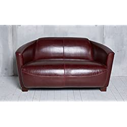 Ledersofa Clubsofa Ledercouch Lounge Sofa Couch Zweisitzer rot antik vintage