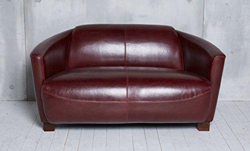 Ledersofa Clubsofa Ledercouch Lounge Sofa Couch Zweisitzer rot antik vintage