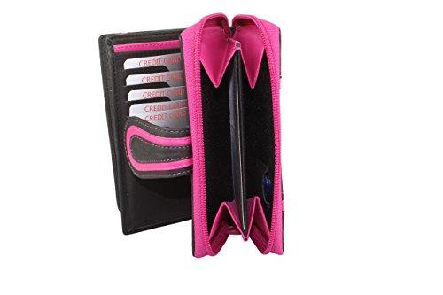 Borsa Donna Portamonete con ciernera attorno e patta esterna in rosso Pink