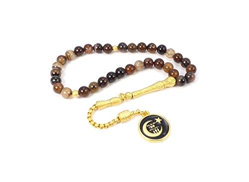Gök-Türk Gebetskette - Tesbih 'Tugra' 33 Perlen Osmanisches Steine aus Quarz und Tigerauge
