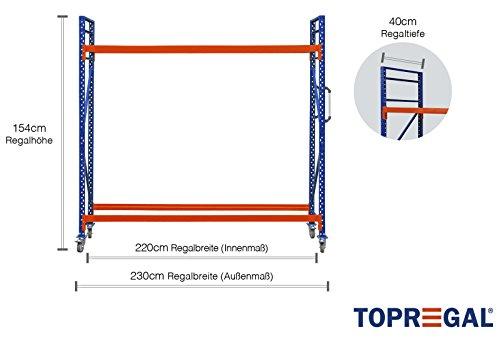 Reifenwagen Felgenwagen Reifenregal fahrbar 230cm breit, 154cm hoch, 40cm tief mit 2 Ebenen