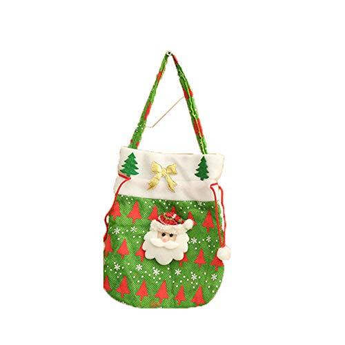 ODJOY-FAN Weihnachten Süßigkeiten Tasche Tragbar Geschenktasche Weihnachtsmann Schneemänner Geschenk Kinder Party Lager (20x24cm,35g)(A,1 PC)