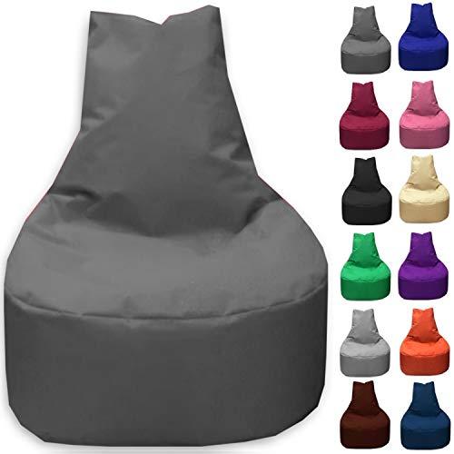 Sitzbag Sitzsack Sessel XL - XXL für Kinder und Erwachsene - In & Outdoor Sitzsäcke Kissen Sofa Hocker Sitzkissen Bodenkissen (XXL - 80cm Durchmesser, Anthrazit)