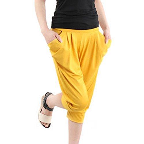 Pantaloni di seta di ghiaccio di vita elastica delle mutandine casuali di estate delle donne ansima il formato grande Giallo
