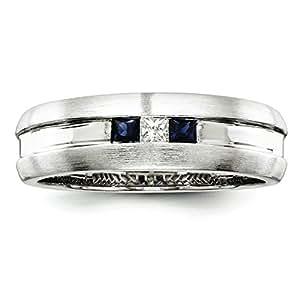 Argent Sterling avec saphir et diamant brut Bague homme-Taille: T 1/2–JewelryWeb