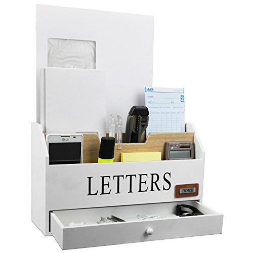 bureau organiseur pratique avec 3 poches et 1 tiroir bois corbeille courrier postal plateau de. Black Bedroom Furniture Sets. Home Design Ideas