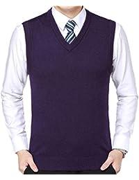 Yuanu Hombre Suelto Cómodo Color Sólido Chaleco De Punto, Otoño Negocios Casual V-Cuello Suéter Sin Mangas
