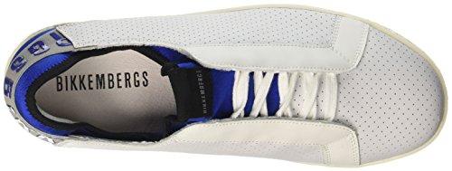 BIKKEMBERGS Herren Best 872 Niedrige Sneaker Bianco (White/blue)