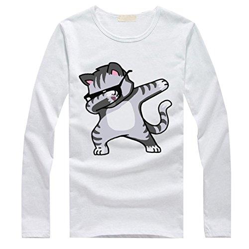 Yogogo Femmes Filles Grande Taille T-Shirts ImpriméS Chemise Chemisiers En Coton à Manches Longues Blanc