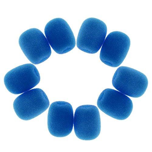 MagiDeal 10 Piezas Mini Bonnette Micro Anti Viento de Espuma Parabrisas Portada Micro Tie - Azul