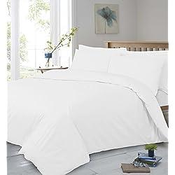 T400 hilos de algodón egipcio Calidad de Hotel de cama muy suave de, Blanco, matrimonio grande