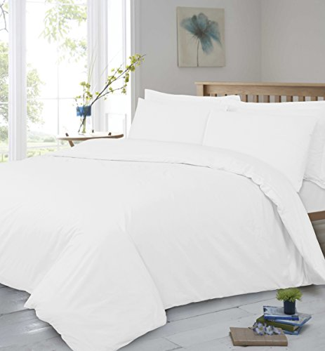 T400Fadenzahl reine Ägyptische Baumwolle Super Soft Hotel Qualität Flach Bett Blatt, Weiß, Doppelbett (Qualität Bett-blatt)