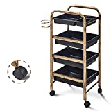 Hairdressing Beauty Makeup Trolley On Wheels With Drawers + Metal Hair Dryer Holder,Great For Beauty Salons, Hairdressers And Tattoo Shops,Brass,4/5Drawer