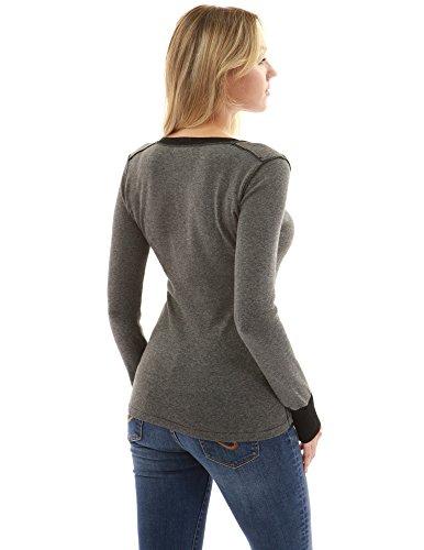 PattyBoutik femmes henley couleur pull gris chiné et noir