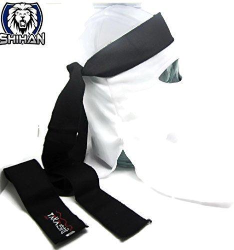 te Warrior weiß Gesichtsmaske satz Japanisch (AKA) Mit Tenugui Schwarz Kopfband Schal Einheitsgröße, Kostüm, Halloween, Kostüm (Ninja Turtle Kostüme Shirt)