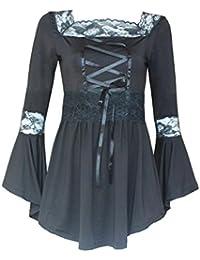Tefamore Blusa Mujer de Encaje de Manga Larga de Algodón Camisa Suelta de Moda Elegante