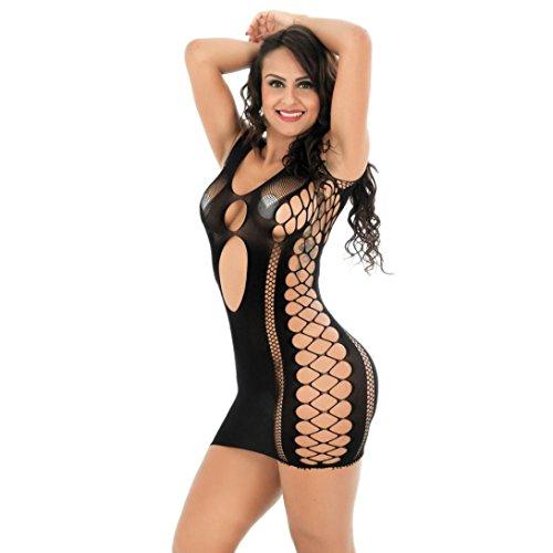 MCYs Damen Babydoll Fischnetz Hollow Bodysuit Unterwäsche Negligee Nachthemd Nachtwäsche Jumpsuit Bodystocking Transparent -