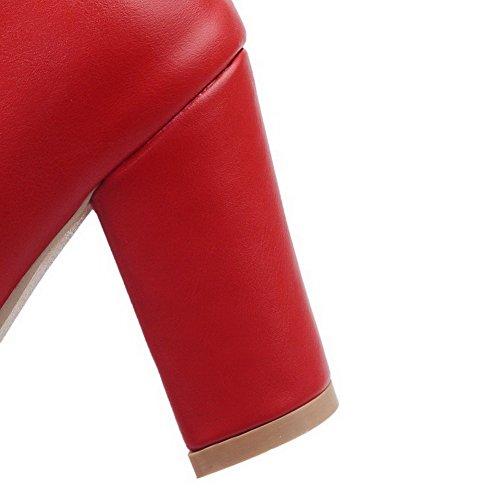Odomolor Damen Weiches Material Spitz Zehe Rein Mitte-Spitze Hoher Absatz Stiefel Rot
