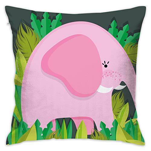 XCOZU Fundas de cojín sofá, Almohadas, diseño de Elefante, Animales Salvajes, 18 x 18 Pulgadas, Cojines de Interior o Exterior para Silla de sofá